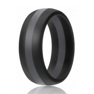 Black and Grey Rubber Wedding Ring